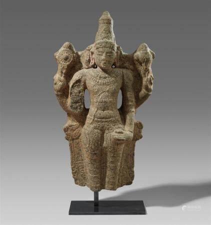 A Chola-style granite fragment of a standing Vishnu. Southern India, Tamil Nadu