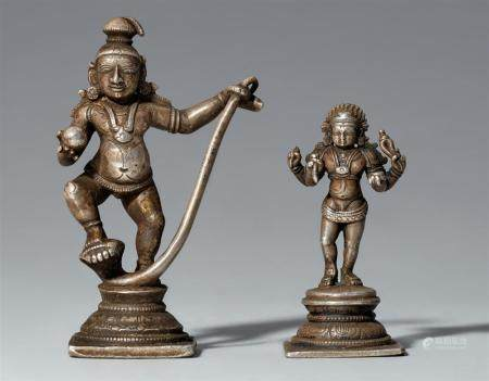 Two small South Indian silver figures. 19th/20th century