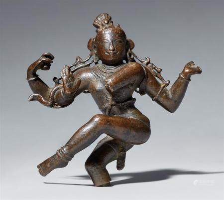 A South Indian bronze fragment of Shiva as Nataraja. Late Chola period, 10th/11th century