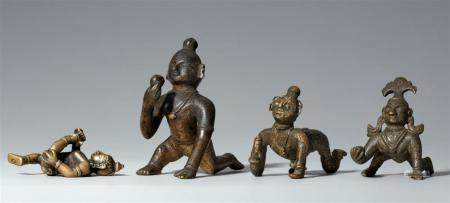 Four Indian copper alloy figures of Balakrishna. 18th/19th century