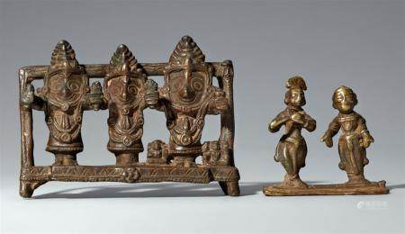 Two Indian copper alloy figure groups. 18th/19th century