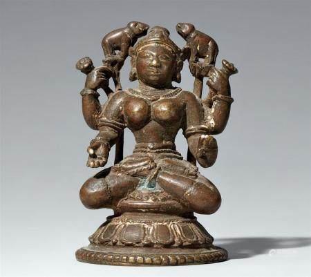 An Orissa copper alloy figure of Gaja Lakshmi. Eastern India. 18th/19th century