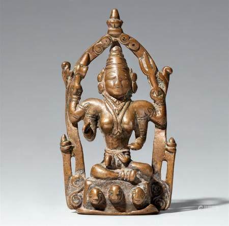 A Maharashtra copper alloy altar of Durga. Central India. 19th century