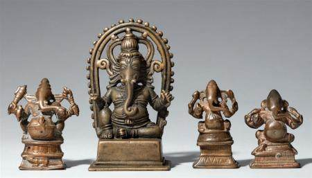 Four small Central and South Indian copper alloy figures of Ganesha. 19th/20th century
