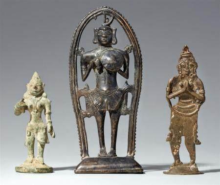 Three South Indian copper alloy figures. Tamil Nadu/Kerala. 19th/20th century