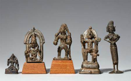 Four Madhya Pradesh Kandesh copper alloy figures of deities and one Tamil Nadu figure of Yasoda. Central and Southern India. 19th/20th century