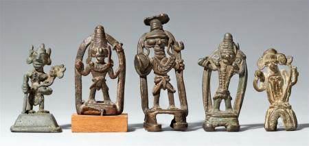 Five small Cchindwara copper alloy figures of deities. Central India, Madhya Pradesh, Satpura mountains. 19th/20th century