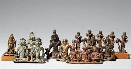 Eight small Central Indian copper alloy figures of deities, ancestors or munja. Maharashtra, Nasik, or Madhya Pradesh, Khandesh. 19th/20th century