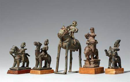 Five small Aurangabad and Karnataka copper alloy figures of riders. Central and Southern India. 18th/19th century