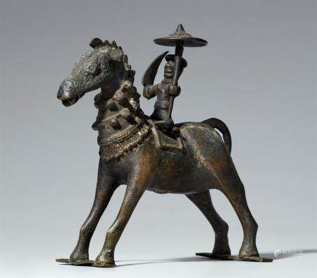 An Orissa copper alloy figure of a rider. Eastern India. 19th century