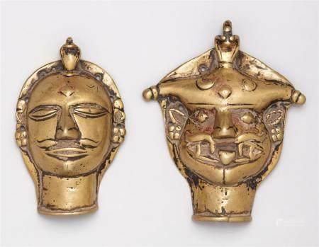 Two Maharashtra brass heads. Central India. 19th century