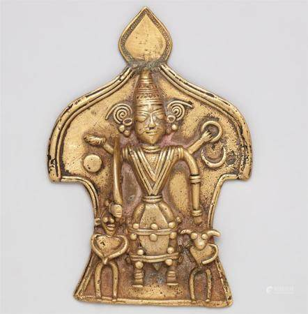 A Karnataka copper alloy plaque. Southern India. 19th century
