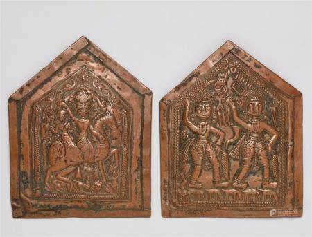 Two Maharashtra chased copper plaques. Central India. 19th/20th century
