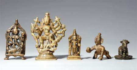 Five Central and South Indian copper alloy figures of deities. 17th/20th century