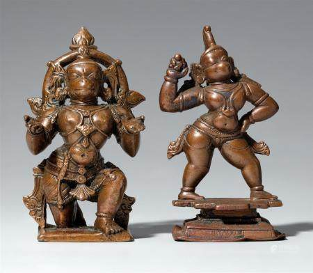 Two South Indian copper alloy figures of Hanuman. 19th/20th century
