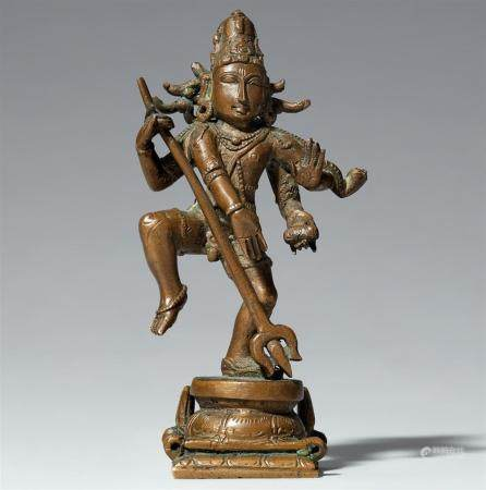 A South Indian copper alloy figure of a dancing Shiva. 20th century