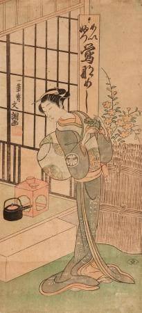 Hosoban. The actor Segawa Kikunojo II as a woman outside a room with a shishi figure in her hands. Signed: Ippitsusai Bunchô. Seal: Mori uji. Publisher: Nishimuraya Yohachi. Circa 1769. Mounted as a hanging scroll. Good impression, faded, few dull