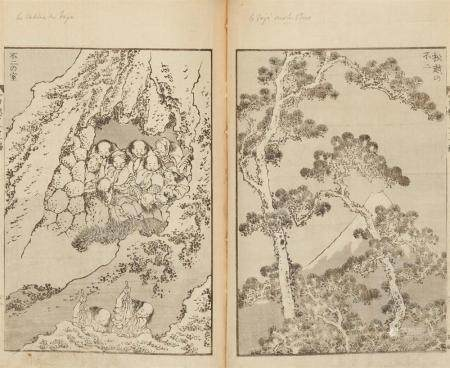 a) Fugaku hyakkei, 3 vols. Total of 52 single page and double 48 pages b&w illustrations. Vol. 1: 2 p. advertisement, 2 pp. foreword dated 1834. Vol. 2: 2 p. advertisement, 2 pp. foreword dated 1835. Vol. 3: 1 p. advertisement, 2 pp. foreword. Coloph