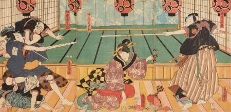 a) Two ôban triptychs. Theater scenes. Signed: Toyokuni ga. b) Ôban from Edo meisho. Kasumigaseki. Signed: Hiroshige ga. c) Ôban triptych. The First Crossing of the Ryôgoku Bridge on the 23rd Day of the 11th Month, 1855. Signed: (Ichiyûsai) Kuniyoshi