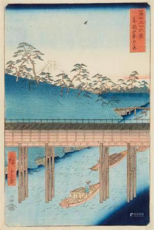 Ôban. Series: Fuji sanjûrokkei. Title: Tôto Ochanomizu. Boats on canal. Signed: Hiroshige ga. Publisher: Tsutaya Kichizô. Date: 4/1858. Good impression and colours, slightly soiled at lower and left margins, hinged onto mat