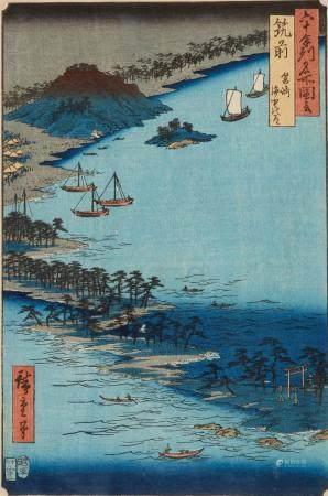Two ôban. a) Series: Rokujûyoshû meisho zue. Title: Chikuzen, Hakozaki, kaichû no michi. Signed: Hiroshige hitsu. Block carver: Hori Sôji. Publisher: Koshimuraya Heisuke. Censor: aratame. Date: 9/1855. b) Series: Ômi hakkei. Title: Mii banshô. Signed