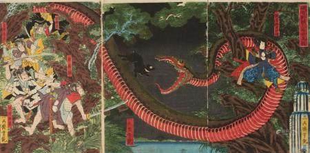 Ôban triptych. Title: Kijutsu o yabutte Yorimitsu Hakamadare o karamen to su. Minamoto Yorimitsu (Raikô) and his retainers try to capture the Hakamadare serpent. Signed: Ichieisai Yoshitsuya. Publisher: Tsutaya Kichizô. Date: 4/1858. Good impressi