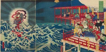 Ôban triptych. Title: Aki Miyajima Benzaiten shintai o arawashi Kiyomori ga isei o kujiku. Benzaiten appears to Taira Kiyomori and his men at Miyajima, prompting the founding of Itsukushima Shrine. Signed: Yoshitora ga. Publisher: left blank. The tri