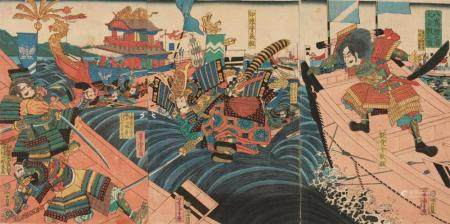 Ôban triptych. Title: Yashima Dannoura ôgassen no zu. Yoshitsune jumps ship in the Battle of Dannoura. Imperial barge in the background. Signed: Yoshitora ga. Publisher: Izutsuya Shokichi. Censor/date: aratame, 3/1862. Good impression and colours,