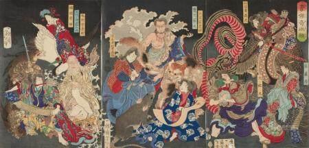 Japan, Holzschnitt, Yoshitoshi, Triptychon, Demon