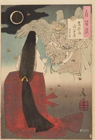 Ôban. Series: Tsuki hyakkei. Title: Yoshinoyama yowa no tsuki - Iga no Tsubone. Iga no Tsubone and the ghost of Sasaki no Kiyotaka. Signed: Yoshitoshi. Seal: Yoshitoshi no in. Block carver: Enkatsu. Publisher: Akiyama Buemon. Date: 1886 . Very goo