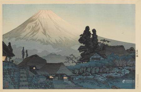26 x 40 cm. Title: Mizukubô. Mount Fuji. Signed: Hiroaki. Seal: Hiroaki. Publisher: Watanabe Shôsaburô. Circa 1936. Very good impression, colours and condition, paper slightly undulating at upper margin, upper corners mounted onto mat