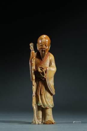 A soapstone shoushan standing elder figure