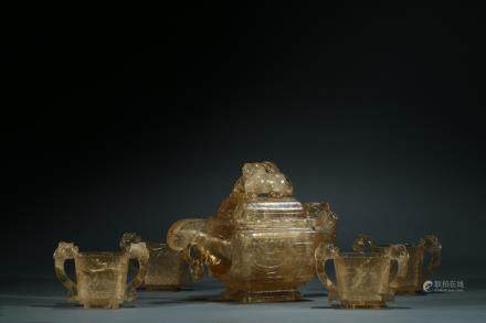 A set of five smoky quartz teapot and cups
