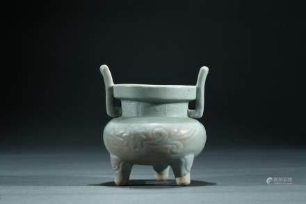 A longquan celadon glazed tripod censer