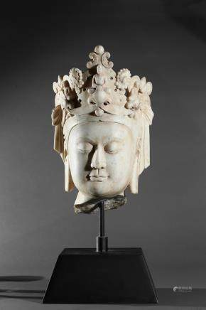 A marble carved head of bodhisattva