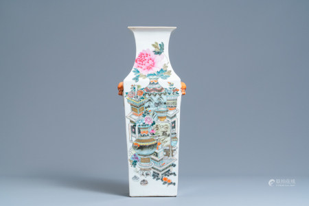 A Chinese square qianjiang cai 'antiquities' vase, 19th C.