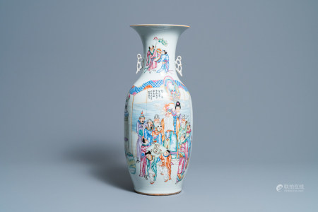 A Chinese famille rose vase with figurative and floral design, 19/20th C.