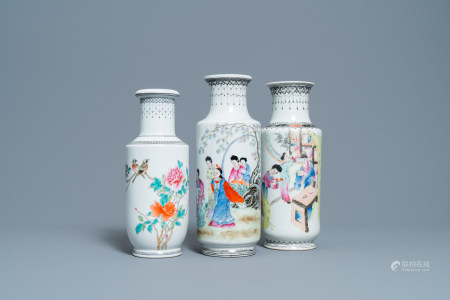 Three Chinese famille rose rouleau vases, Qianlong marks, Republic