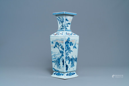 A Chinese square-sectioned blue, white and copper-red vase, Kangxi