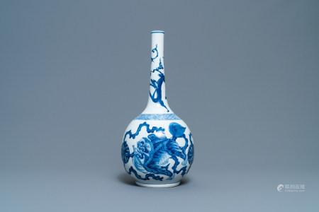A Chinese blue and white 'Buddhist lions' bottle vase, Kangxi