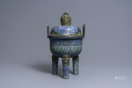 A large Chinese cloisonne tripod censer and cover, Qianlong