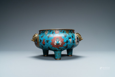 A large Chinese cloisonne tripod censer, Ming