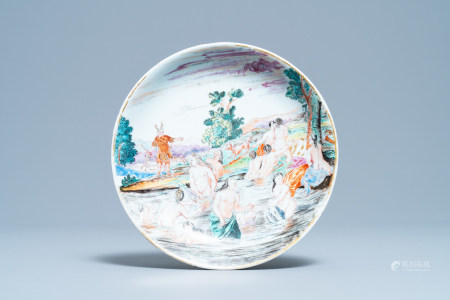 A Chinese famille rose eggshell 'Diana and Actaeon' plate with Dutch inscription, Yongzheng