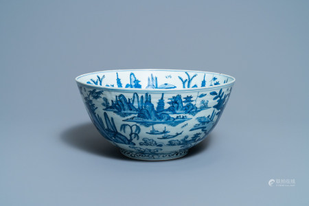 A large Chinese blue and white 'river landscape' bowl, Ming