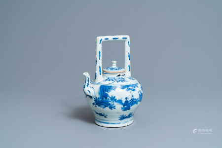 A large Chinese blue and white 'scholars' wine ewer and cover, Transitional period
