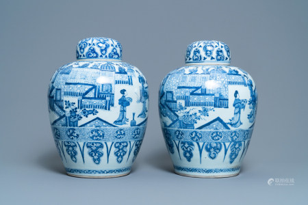 A pair of large Chinese blue and white jars and covers, Kangxi