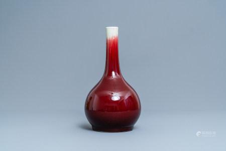A Chinese monochrome langyao-glazed bottle vase, Qianlong