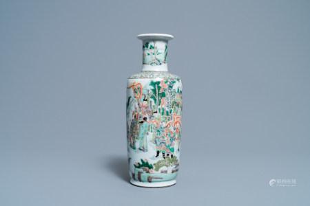 A rare Chinese famille verte 'Feng shen bang' rouleau vase, Kangxi