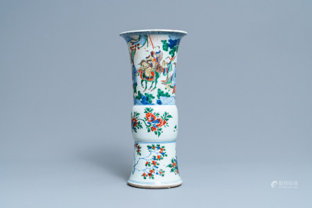A Chinese wucai 'gu' vase with narrative design, Shunzhi