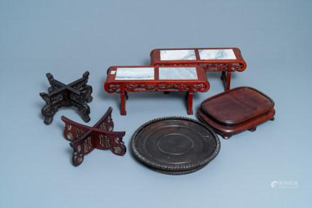 Six large Chinese carved wooden stands, 19/20th C.
